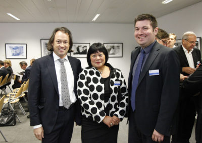 Left Dirk Penasse - Chairman ESPORG, Mrs Désirée Oen - Deputy Head of Cabinet of EU Transport Commissioner Violeta Bulc, right Mr Frédéric Maas Concilius Cons